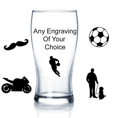 Personalised Engraved Beer Glass Birthday Gift Anniversary Wedding • 9.07£