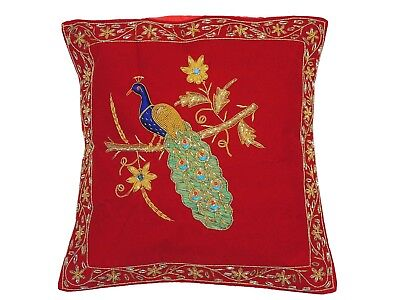Red Peacock Dabka Work Embroidered Pillow Cover Couch Sofa Throw Toss Cushion • 47.69£