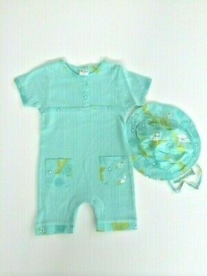 AU24.95 • Buy NEW Baby Clothing Baby Girls Blue Hibiscus Romper And Hat Set Size 0-3 Months