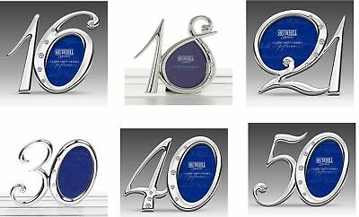 £6.99 • Buy 16th 18th 21st 30th 40th 50th Birthday Silver Diamante Number Photo Frame Gift