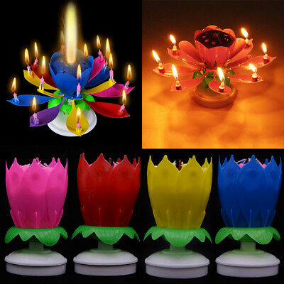$ CDN3.69 • Buy Novelty Lotus Flower Musical Rotating Birthday Cake Topper Candle Party Decor