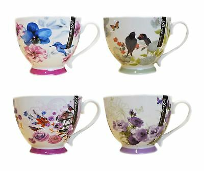 £15.99 • Buy New Bone China Mugs Set Of 4 Floral Design Tea Coffee Home Kitchen Office Cups