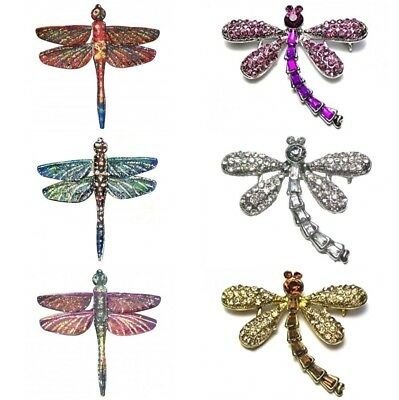 £4.85 • Buy Silver Gold Vintage Antique Dragonfly Brooch Pin Insect Crystal Diamante Gift UK