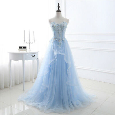 AU139.03 • Buy Women Long Tulle/Lace Evening Formal Party Ball Gown Prom Bridesmaid Dress NEW