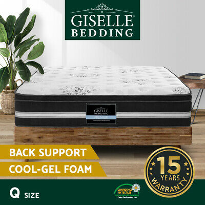 AU289.90 • Buy Giselle Queen Size Mattress Bed COOL GEL Memory Foam Euro Top Pocket Spring