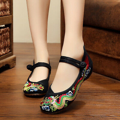 Ladies Soft Chinese Embroidered Casual Ballerina Mary Jane Flat Shoes Size New • 10.55£
