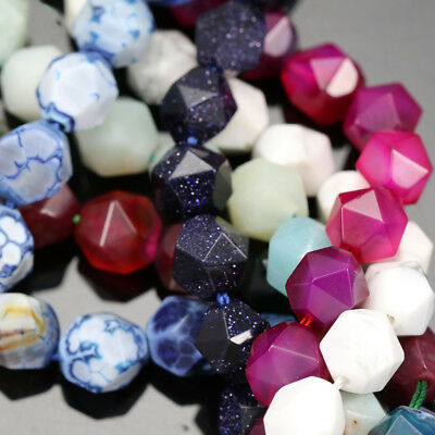 £6.99 • Buy 10mm Faceted Nugget Star Cut Semi-precious Gemstone Beads For Jewellery Making