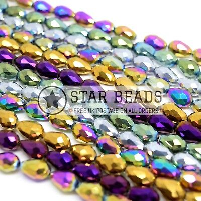 Faceted Teardrop Crystal Glass Beads Pick Metallic Colour - 4x6 8x11 10x15mm • 1.99£