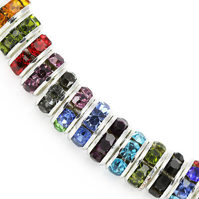 Rhinestone Crystal Rondelle Spacer Beads Silver Plated For Jewellery Making AAA • 3.29£