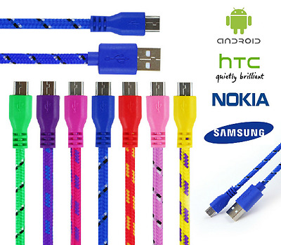 Braided Micro USB Charger Data Cable Lead For SAMSUNG S6 S7 EDGE SONY HUAWEI • 1.99£