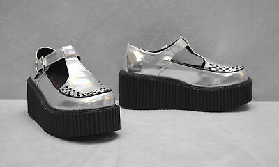 $52.49 • Buy A8 NEW DEMONIA Creeper 214 Silver Hologram T Strap Platform Shoes Size US 8.5