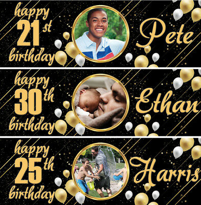 £4.99 • Buy 2 Personalised Birthday Banner Photo Gold Children Adults Party Balloon Poster