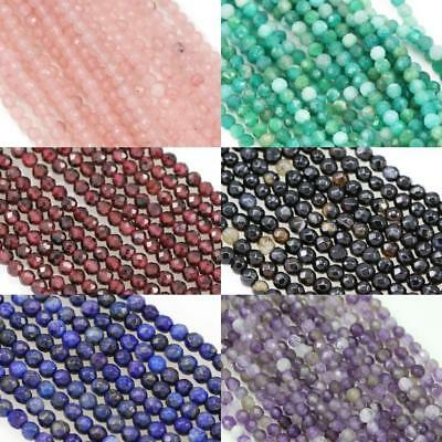 £6.79 • Buy Size 3mm Faceted Round Semi-precious Gemstone Spacer Beads For Jewellery Making