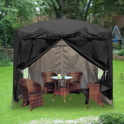 2x2m Outdoor Pop Up Gazebo Garden Marquee Party Tent Canopy 4 Side Panels Black • 84.99£