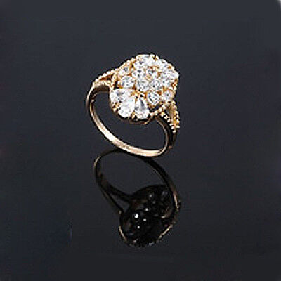 £7.71 • Buy Luxury 18k Gold Plated Oval Cubic Zircons CZ Large 18 Mm Q Size Bridal Ring FR14