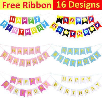 Pastel Perfection Garland Gold Foiled Happy Birthday Bunting Banner Party Décor • 2.59£