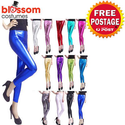 AU9.95 • Buy K608 70s 80s Metallic Neon Shiny Glossy Legging Skinny Disco Dance Costume Pants