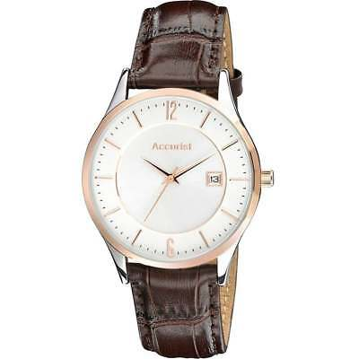 £34.99 • Buy Accurist Classic Silver Dial Brown Leather Strap Gents Watch MS648