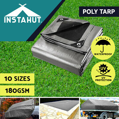 AU35.90 • Buy Instahut Tarpaulin Tarp Canvas Camping Poly Tarps Heavy Duty Cover 180gsm Silver