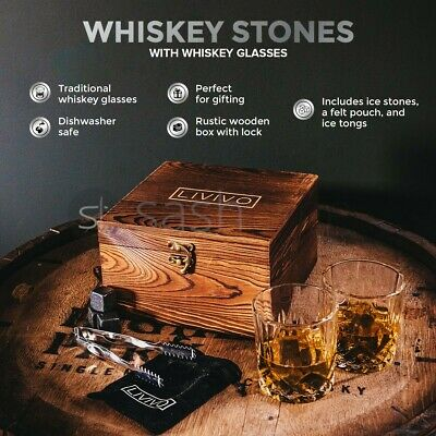 2 Whiskey Glasses 8pc Whisky Ice Stones Drink Cooler Cube Rocks Granite W Tongs • 19.95£
