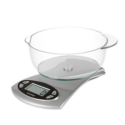Salter 5kg Bowl Kitchen Scales Digital Cooking Food Scale 1.8l Bowl Silver • 14.99£