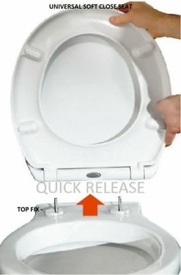 £14.95 • Buy Toilet Seat Soft Close Quick Release Top Fix Hinge Easy Clean Oval Shape Durable