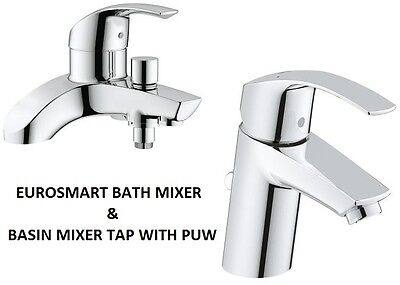 GROHE Eurosmart Bath Shower Mixer & Basin Mixer Tap PUW  25105000 + 3326520L • 214.95£