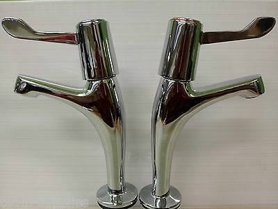 £25.89 • Buy Chrome Lever Type Kitchen Sink Pillar Taps Pair Easy Use Set Ths Pair Hot & Cold