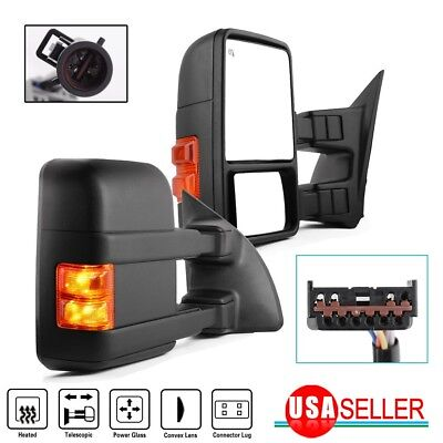 $143.99 • Buy For 99-07 Ford F250-F550 SuperDuty Towing Mirrors Pair Power Heated Amber Signal