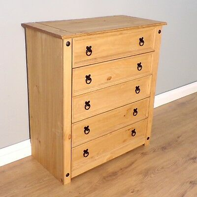 Corona Chest Of Drawers 5 Drawer Rustic Mexican Solid Pine By Mercers Furniture® • 79.99£