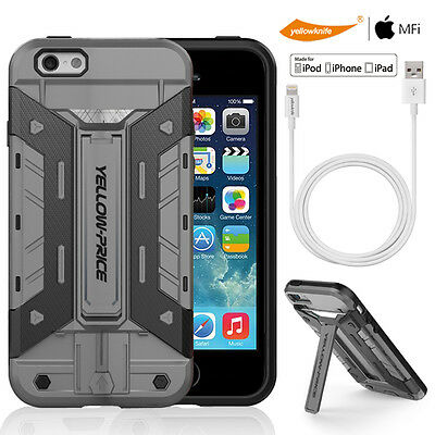 AU21.63 • Buy IPhone 6 6S Grey Armor Impact KickStand Card Case+ MFi  Charger Sync Data Cable