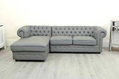 Chesterfield Black Crushed Velvet Corner Sofa Chaise Settee Fabric Grey New PU • 599.99£