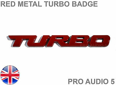 Turbo Red Metal Car Badge - Wrx Sti Sport Racing Gti Gtd Boost Tuning Emblem • 4.79£