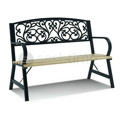 £99.95 • Buy 3 Seater Cast Iron Garden Outdoor W Floral Design Back Park Bench Seat Furniture