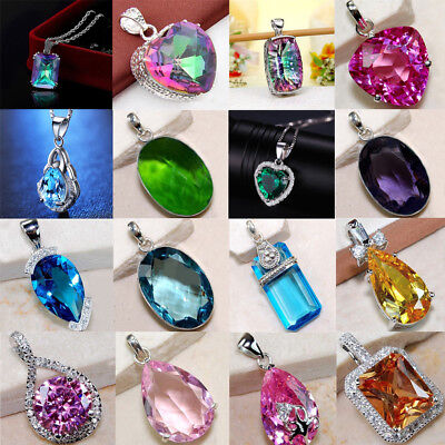 AU2.03 • Buy Fashion 925 Silver Sapphire Crystal Gem Pendant For Necklace Women Jewelry Gift