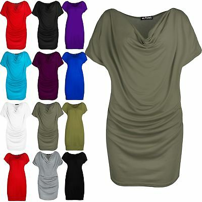 Womens Ladies Side Ruched Stretchy Gathered Cowl Neck Short Sleeve Tee Shirt Top • 3.99£