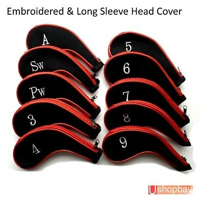 AU28.50 • Buy Golf Club Iron Head Covers Protective X10 Long Sleeve Zipper Embroidered