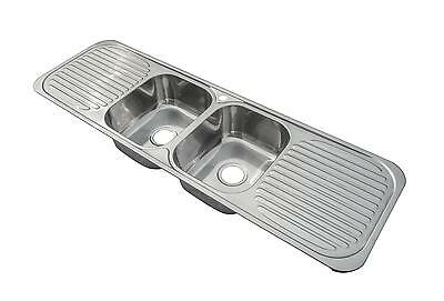 1500 X 480mm Polished Two Bowl Double Drainer Stainless Steel Kitchen Sink F01 • 239.96£