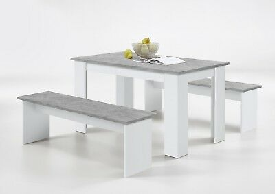 'Durban' Modern Designer Stone Grey & White Dining Table With Bench Seating  • 169£