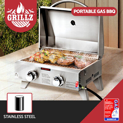 AU217.55 • Buy Grillz Portable Gas BBQ Grill Smoker Outdoor Kitchen Camping Cooking 2 Burners