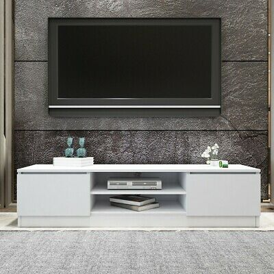 AU149.95 • Buy TV Stand Entertainment Unit 2 Doors Wooden Storage Cabinet Furniture - White