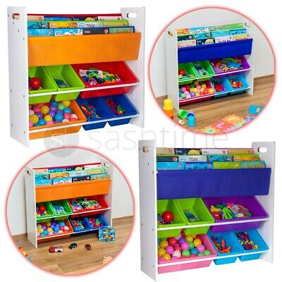 Children Kids Book Shelf Sling Storage Rack Organizer Bookcase Bookshelf Wooden • 32.95£