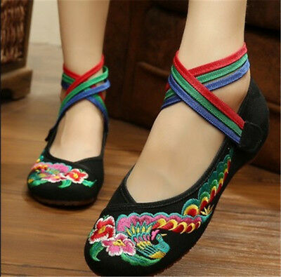 Women Chinese Embroidered Floral Shoes Ballerina Mary Jane Flat Ballet Cotton UK • 10.79£