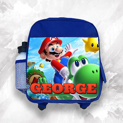 Personalised Kids Backpack Any Name Mario Boys Childrens School Bag • 14.99£