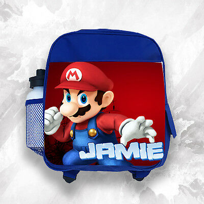 Personalised Kids Backpack Any Name Mario Boys Childrens School Bag 2 • 14.99£