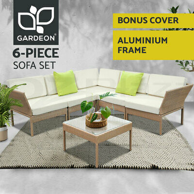 AU693.45 • Buy Gardeon Outdoor Sofa Set 6pc Lounge Setting Wicker Furniture Table Couch Brown