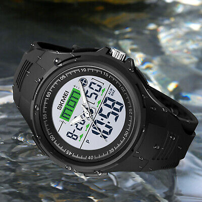 $14.97 • Buy Mens Digital Sport LED Large Face Military Stopwatch Alarm 50M WR Wrist Watch US