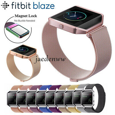 AU16.03 • Buy Milanese Magnetic Stainless Steel Wrist Band Strap +Metal Frame For Fitbit Blaze
