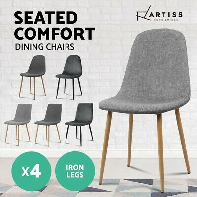 AU139.95 • Buy Artiss Dining Chairs Kitchen Chair Fabric Velvet Seat Cafe Modern Grey X4