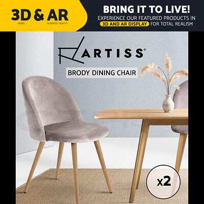 AU129.90 • Buy Artiss Dining Chairs Velvet Seat Chair Kitchen Cafe Furniture Iron Leg Grey X2